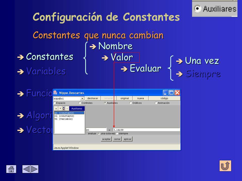 è Algoritmos è Funciones è Vectores Constantes que nunca cambian è Constantes è Variables è Nombre è Valor è Evaluar è Una vez è Siempre Configuración de Constantes