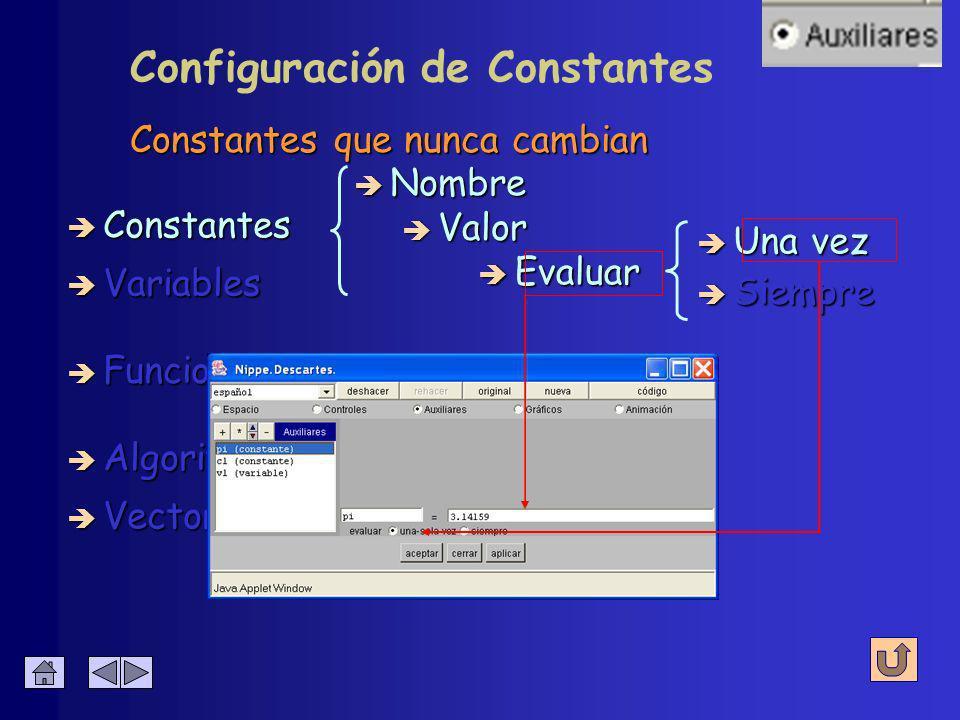 è Algoritmos è Funciones è Vectores Constantes que nunca cambian è Constantes è Variables è Nombre è Valor è Evaluar è Una vez è Siempre Configuración