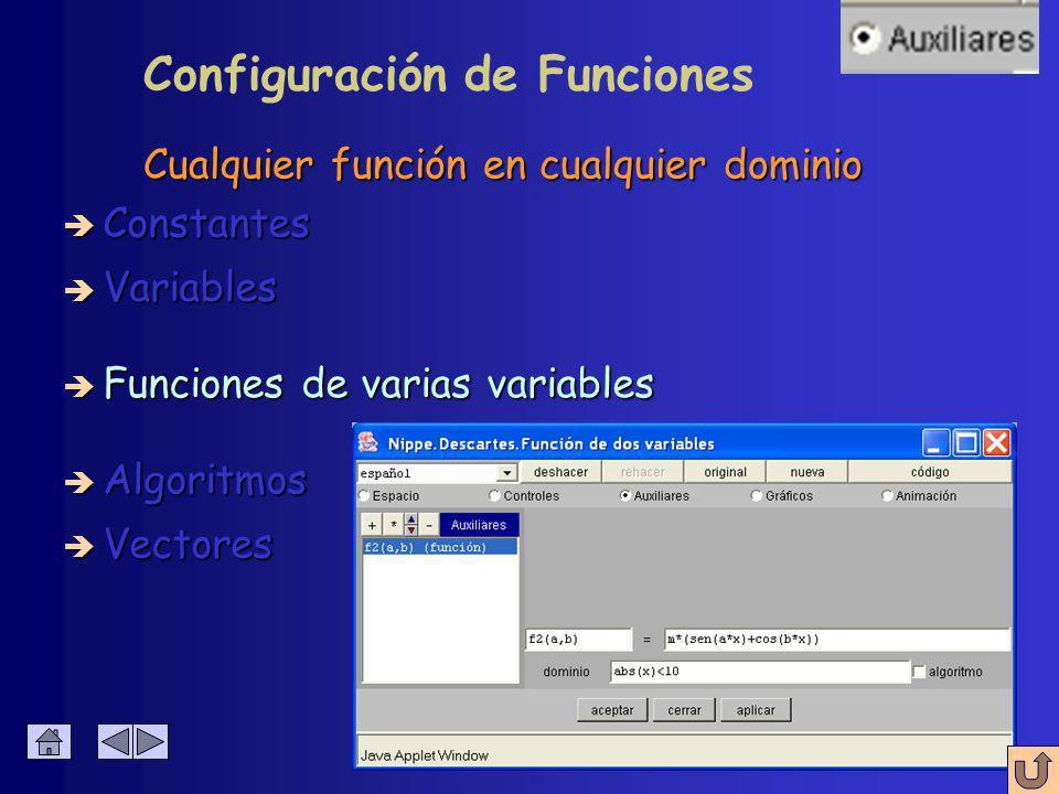 è Nombre è Expresión è Dominio Cualquier función en cualquier dominio Configuración de Funciones è Constantes è Algoritmos è Variables è Funciones è Vectores de x de x
