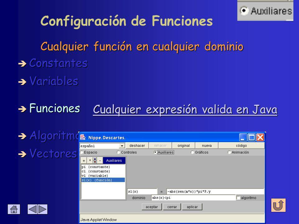 Cualquier función en cualquier dominio è Constantes è Algoritmos è Variables è Funciones de varias variables è Vectores Configuración de Funciones