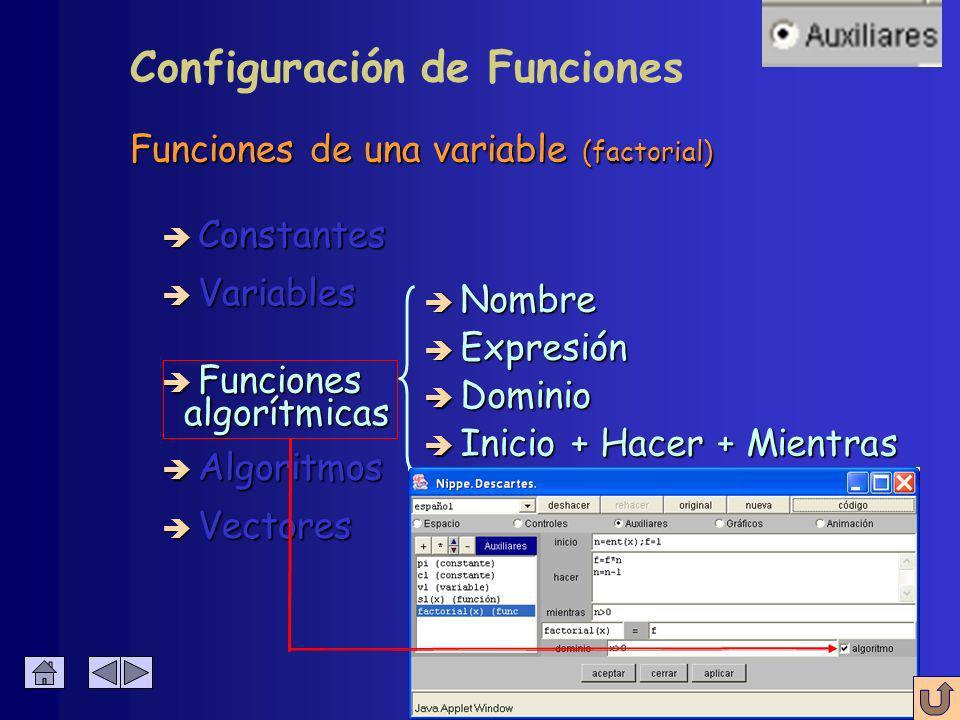 Cualquier función en cualquier dominio è Constantes è Algoritmos è Variables è Funciones è Vectores Configuración de Funciones Cualquier expresión valida en Java Cualquier expresión valida en Java