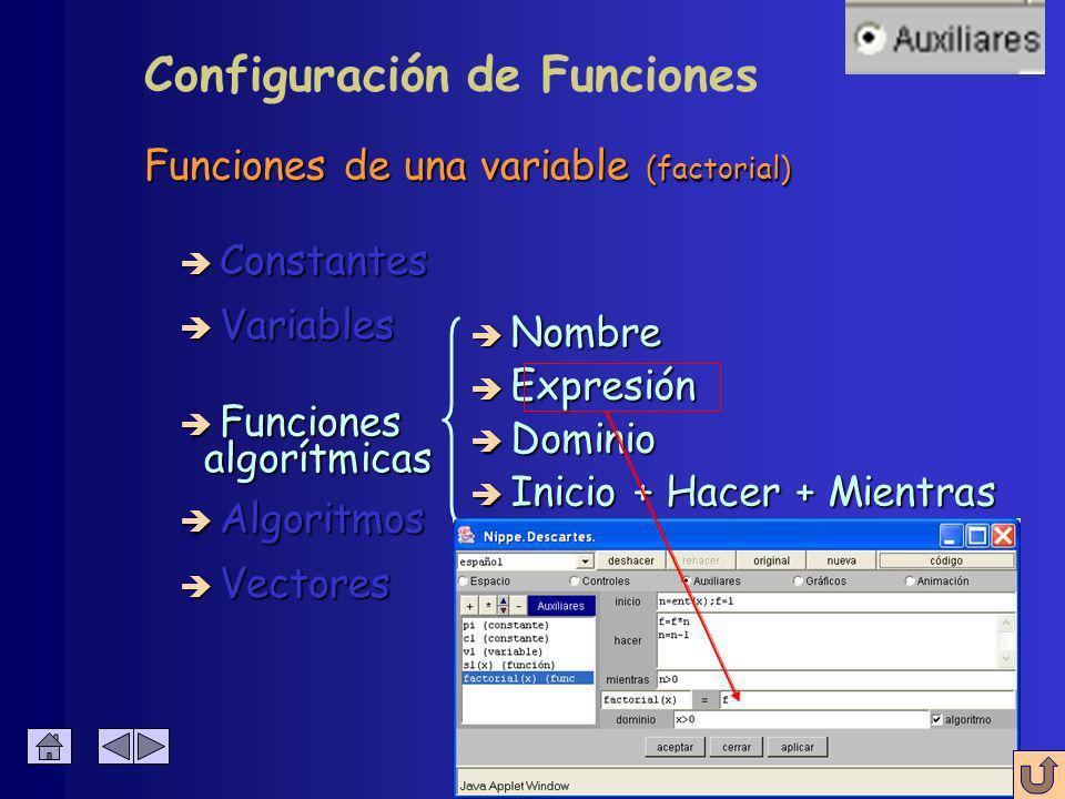 Funciones de una variable (factorial) è Constantes è Algoritmos è Variables è Funciones è Vectores è Nombre è Expresión è Dominio algorítmicas algorít