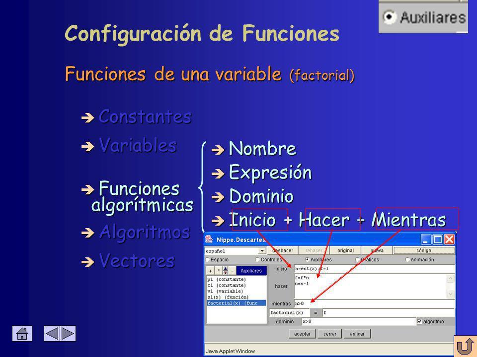 Funciones de una variable (factorial) è Constantes è Algoritmos è Variables è Funciones è Vectores è Nombre è Expresión è Dominio algorítmicas algorítmicas è Inicio + Hacer + Mientras Configuración de Funciones