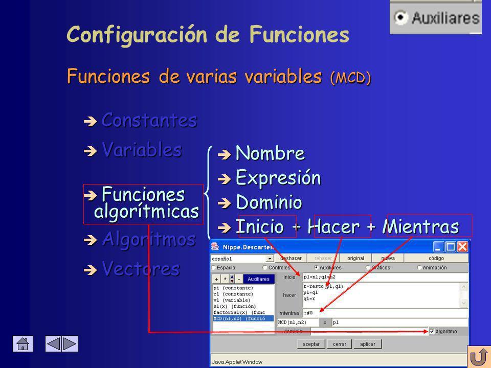 Funciones de varias variables (MCD) è Constantes è Variables è Funciones è Nombre è Expresión è Dominio algorítmicas algorítmicas è Inicio + Hacer + Mientras Configuración de Funciones Con una o más variables
