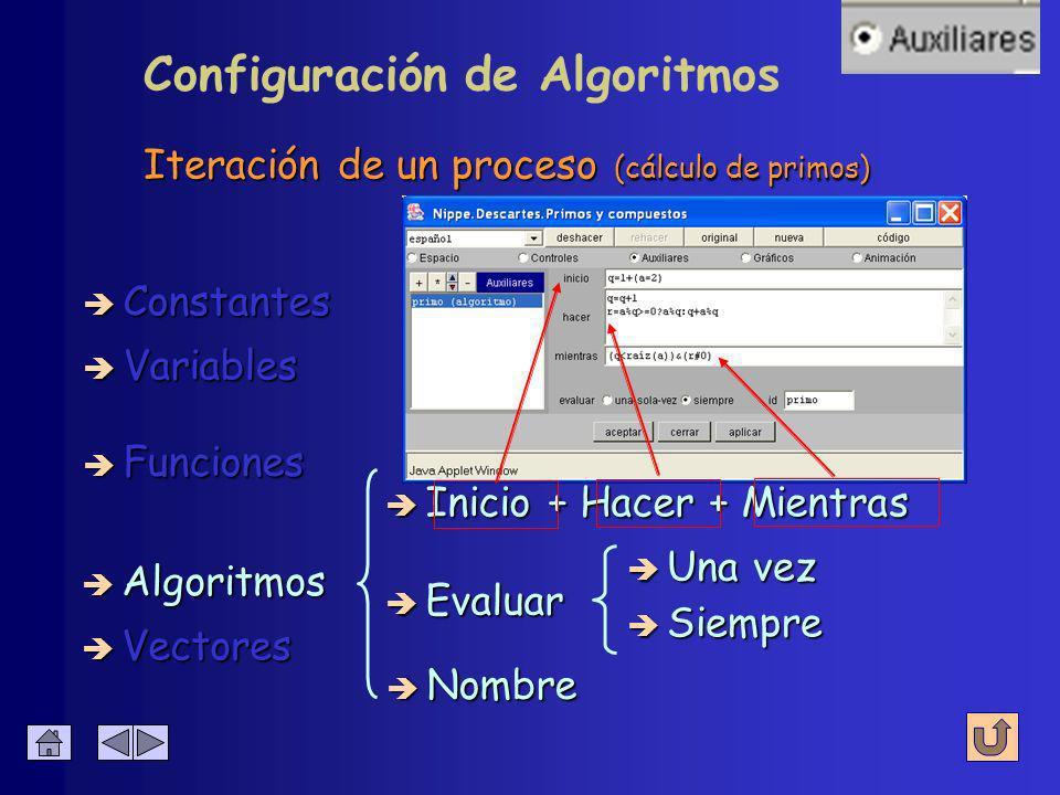 Funciones de varias variables (MCD) è Constantes è Algoritmos è Variables è Funciones è Vectores è Nombre è Expresión è Dominio algorítmicas algorítmicas è Inicio + Hacer + Mientras Configuración de Funciones