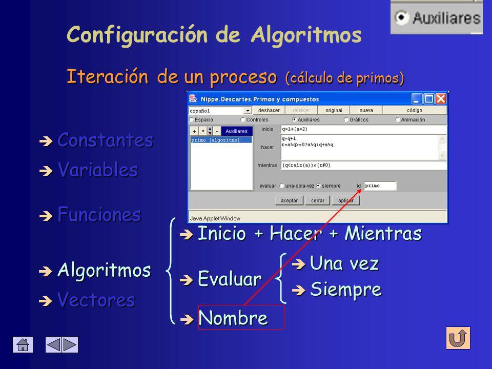 Iteración de un proceso (cálculo de primos) è Constantes è Algoritmos è Variables è Funciones è Vectores è Inicio + Hacer + Mientras è Evaluar è Una vez è Siempre Configuración de Algoritmos è Nombre