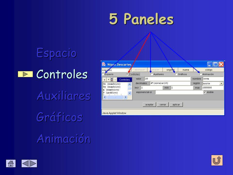 Espacio Espacio Controles Controles Auxiliares Auxiliares Gráficos Gráficos Animación Animación