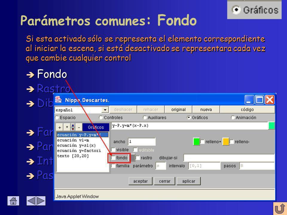 Configuración de gráficos Hay parámetros comunes a todas las herramientas