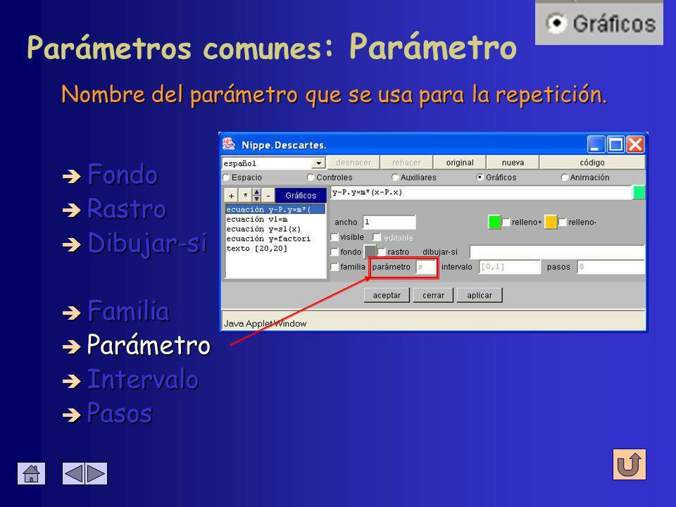 Activa o desactiva el resto de los parámetros de la línea. Se usa para repetir la representación de elemento correspondiente. è Fondo è Rastro è Dibuj