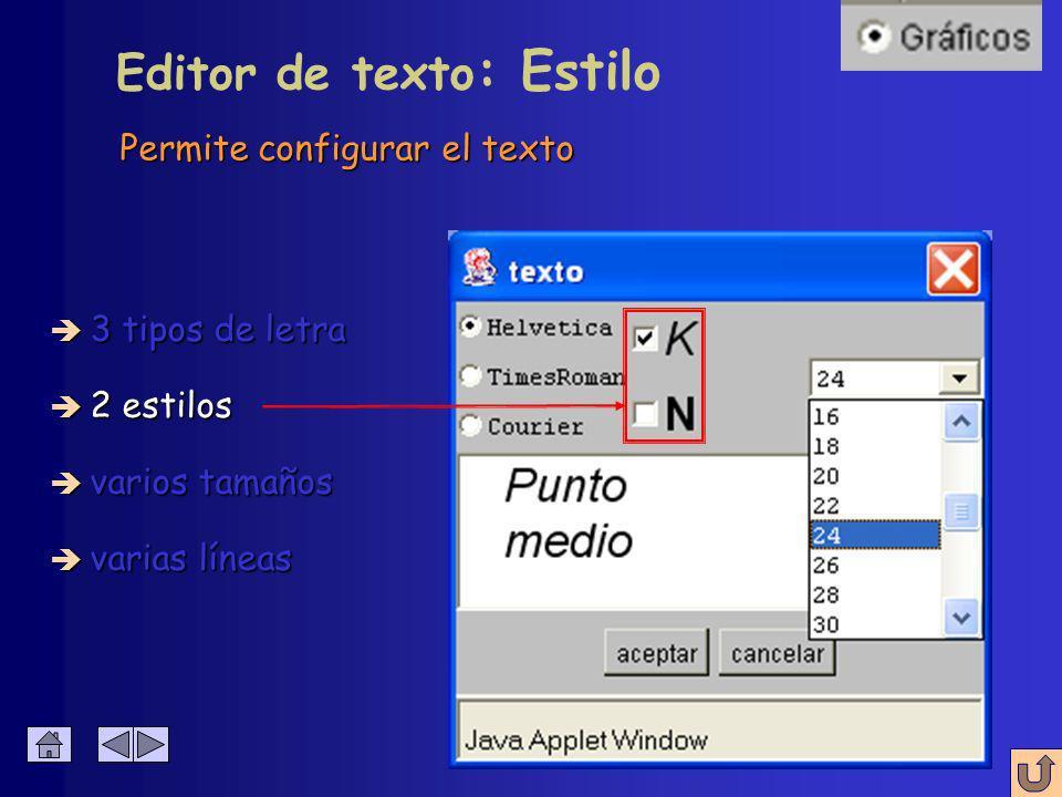 Permite configurar el texto Editor de texto : Tipo de letra è 3 tipos de letra è 2 estilos è varios tamaños è varias líneas