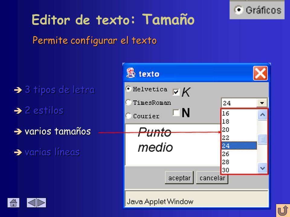 Permite configurar el texto Editor de texto : Estilo è 3 tipos de letra è 2 estilos è varios tamaños è varias líneas