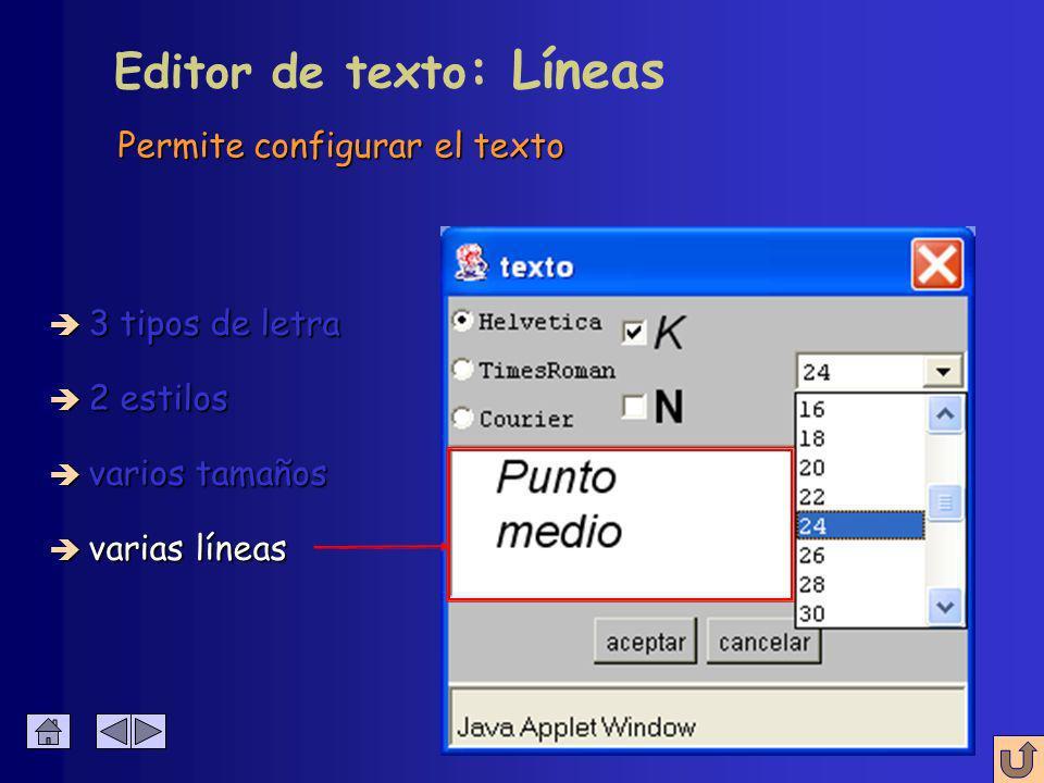 Permite configurar el texto Editor de texto : Tamaño è 3 tipos de letra è 2 estilos è varios tamaños è varias líneas