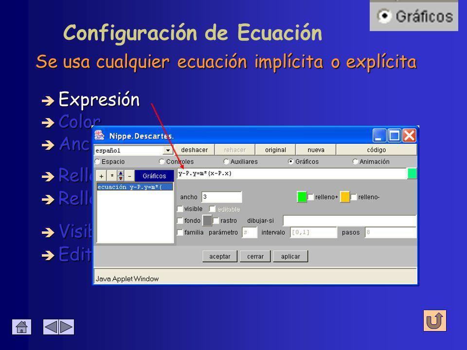 Representa gráficas de funciones (en cartesianas) è Expresión è Relleno - è Color è Relleno + è Visible Configuración de Ecuación è Editable è Ancho
