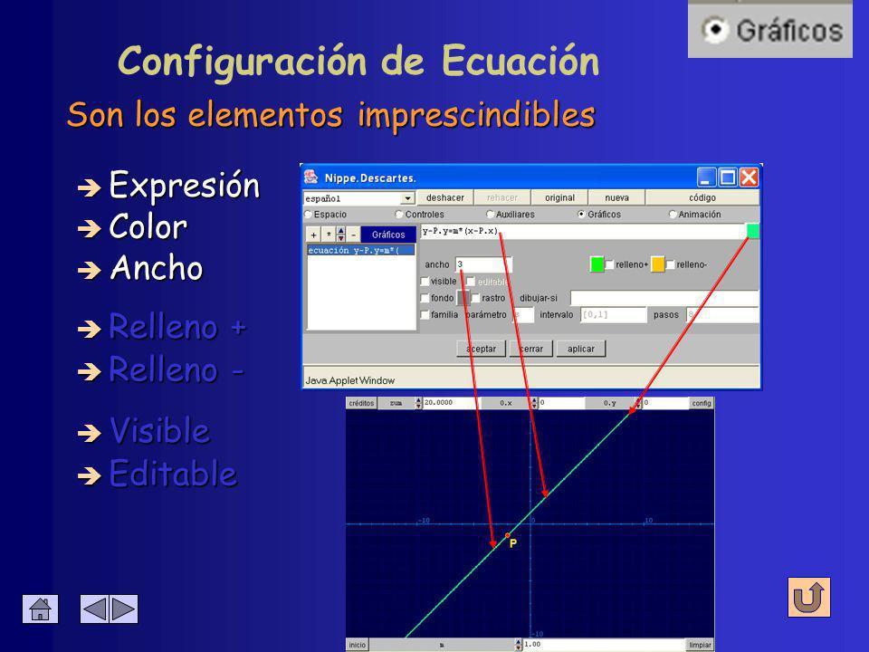Color de la gráfica y su anchura en píxeles è Expresión è Relleno - è Color è Relleno + è Visible Configuración de Ecuación è Editable è Ancho