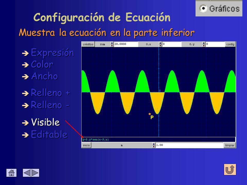 Colorea las áreas entre la curva y el eje X è Expresión è Relleno - è Color è Relleno + è Visible Configuración de Ecuación è Editable è Ancho