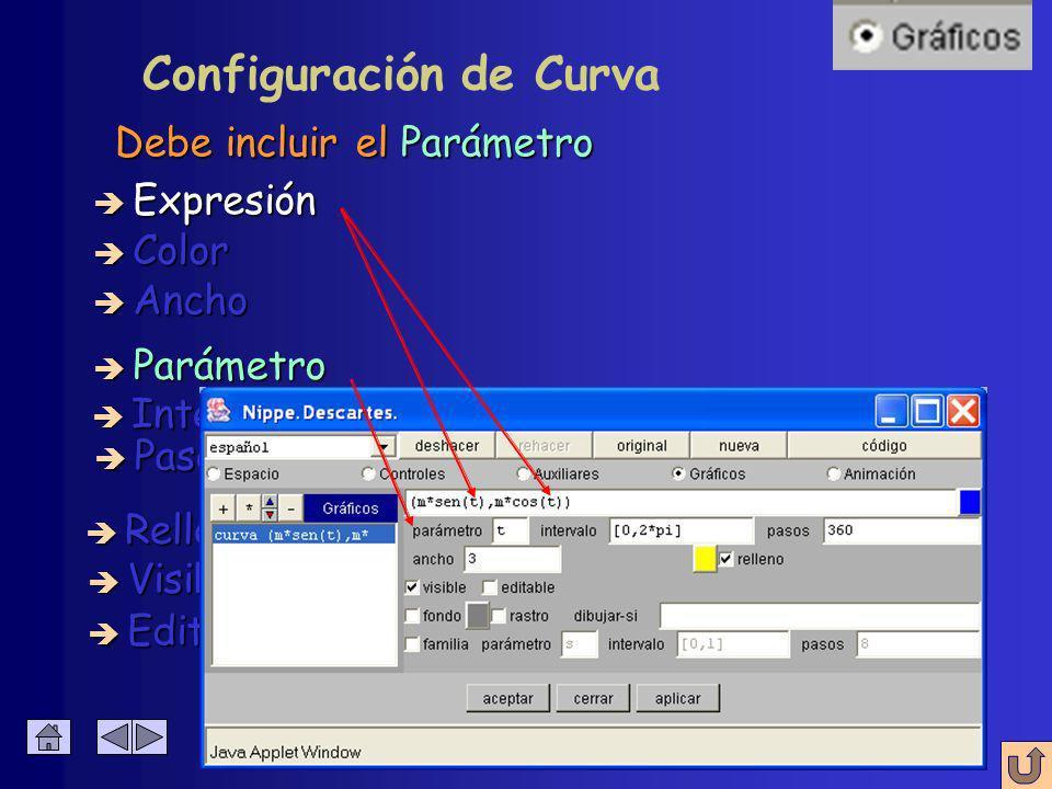Configuración de Curva Ecuaciones paramétricas de los puntos è Expresión è Relleno è Color è Intervalo è Visible è Editable è Ancho è Pasos è Parámetro