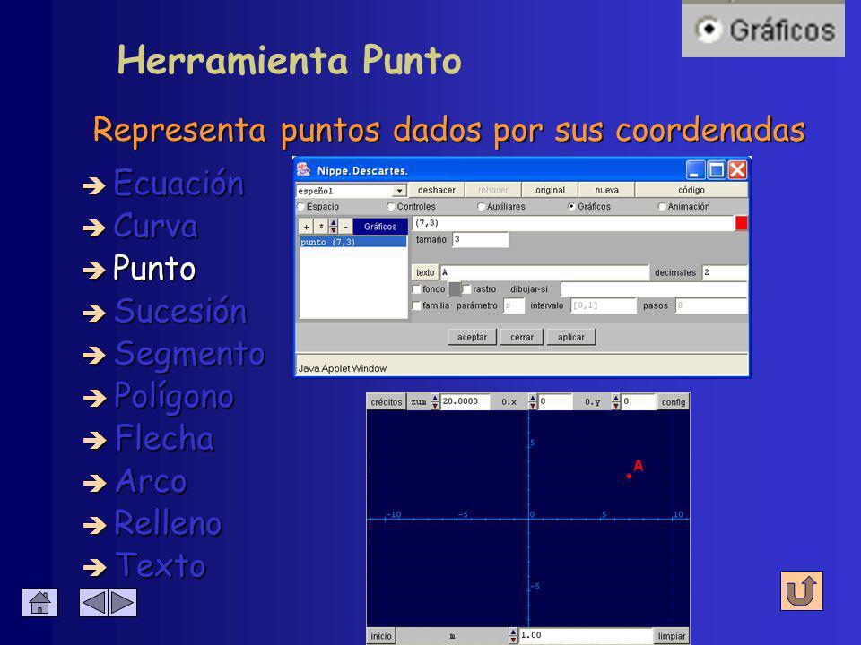 Configuración de Curva Debe incluir un parámetro è Expresión è Relleno è Color è Intervalo è Visible è Editable è Ancho è Pasos è Parámetro