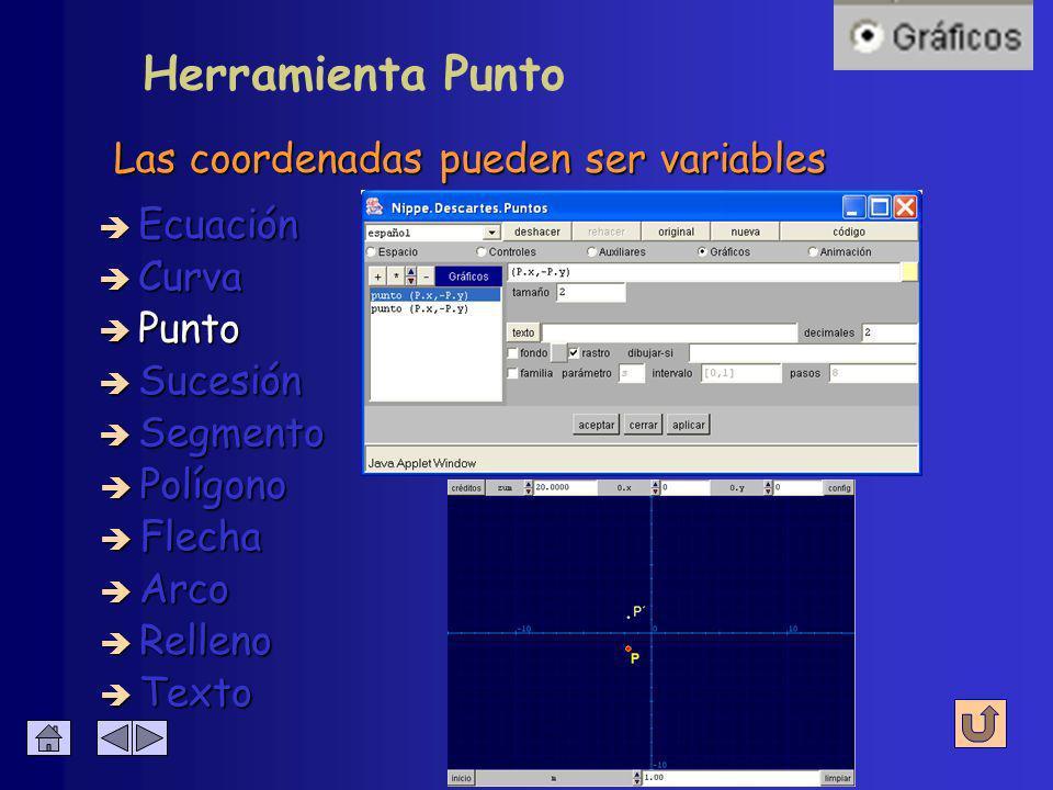 Configuración de Punto Abscisa y ordenada è Coordenadas è Color è Decimales è Tamaño è Texto