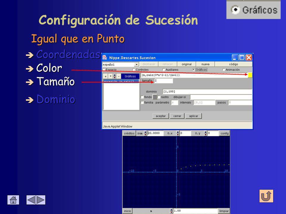 Configuración de Sucesión Valores que tomará n è Coordenadas è Color è Tamaño è Dominio