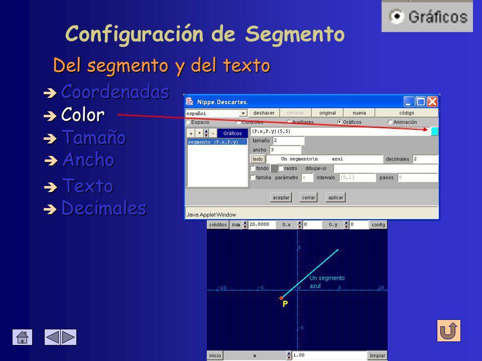 Configuración de Segmento Abscisa y ordenada de los extremos è Coordenadas è Color è Tamaño è Ancho è Decimales è Texto