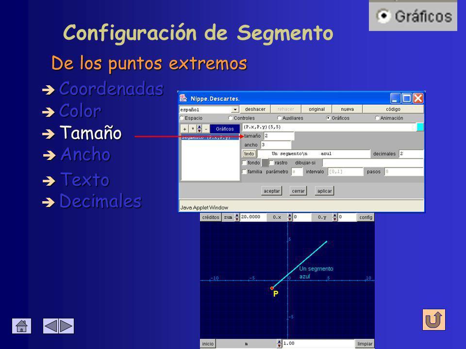 Configuración de Segmento Del segmento y del texto è Coordenadas è Color è Tamaño è Ancho è Decimales è Texto
