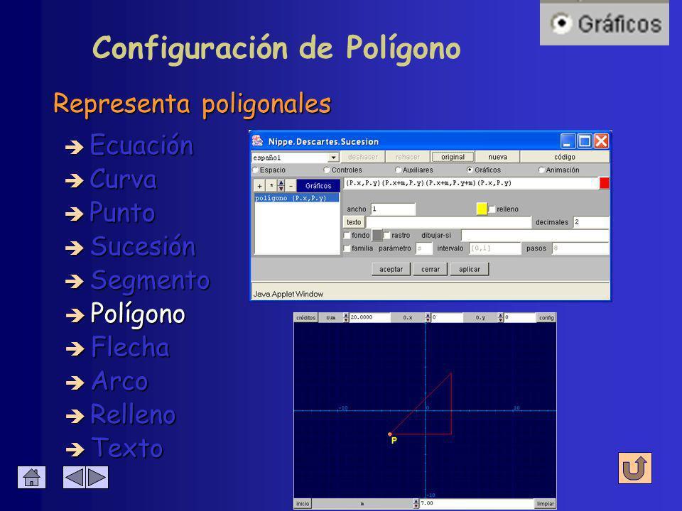 Configuración de Segmento Para los valores numéricos que se escriban è Coordenadas è Color è Tamaño è Ancho è Decimales è Texto