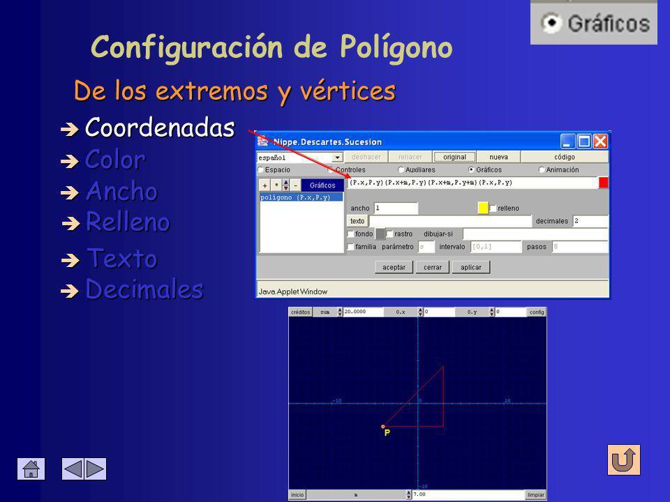 Representa poligonales Configuración de Polígono è Ecuación è Sucesión è Curva è Punto è Segmento è Arco è Relleno è Texto è Polígono è Flecha
