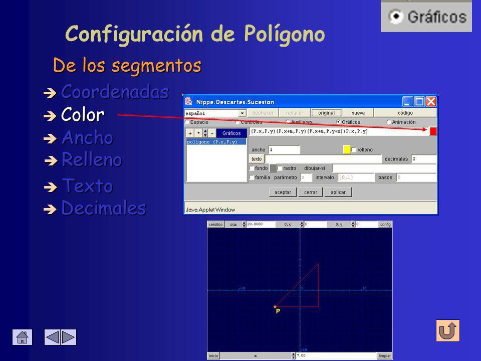 Configuración de Polígono De los extremos y vértices è Coordenadas è Color è Ancho è Relleno è Decimales è Texto