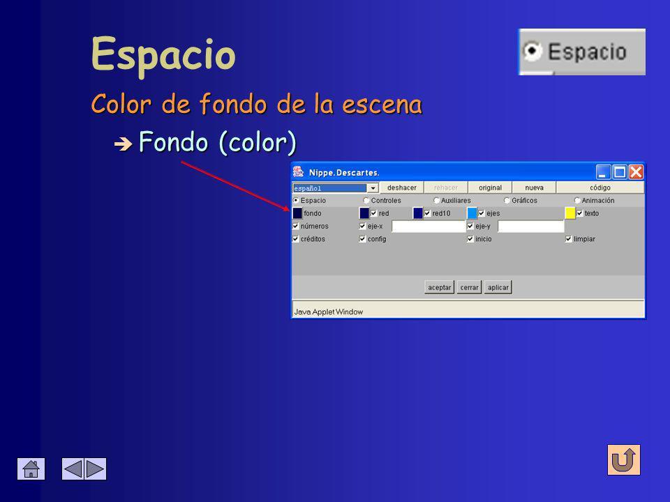 Define el entorno básico de interacción Espacio (8 parámetros) Fondo Fondo Red Red Ejes Ejes Texto Texto Botones Eje X Eje X Eje Y Eje Y Números Números