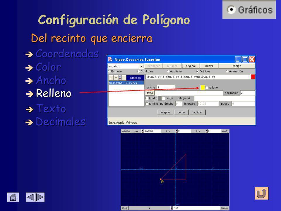 Configuración de Polígono è Coordenadas è Color è Ancho è Relleno è Decimales è Texto Grosor del trazo