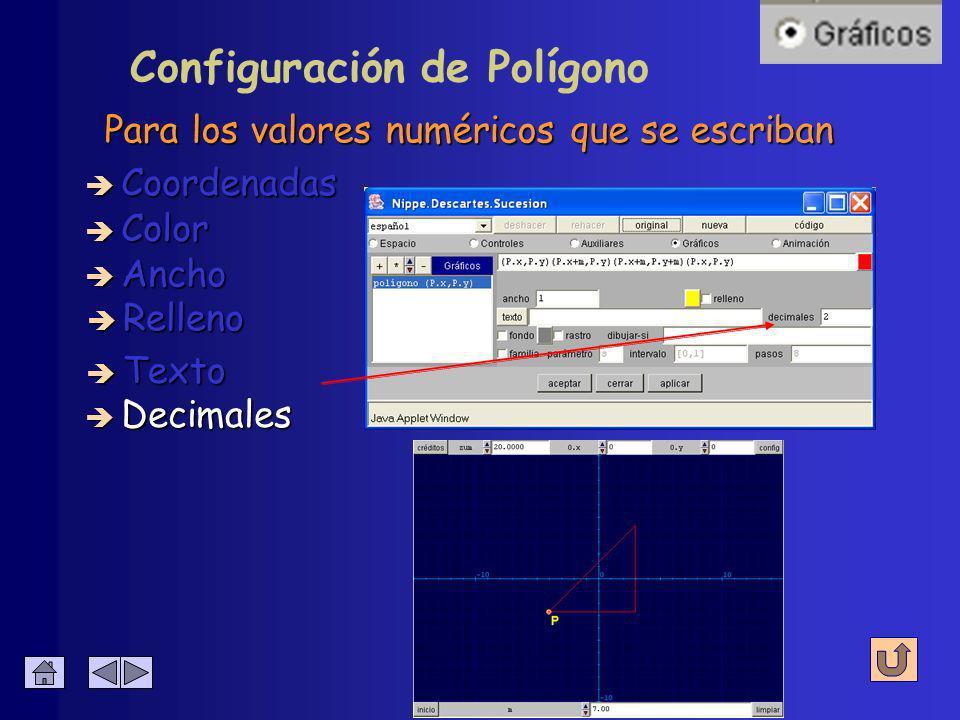 Configuración de Polígono Se escribe junto al polígono è Coordenadas è Color è Ancho è Relleno è Decimales è Texto