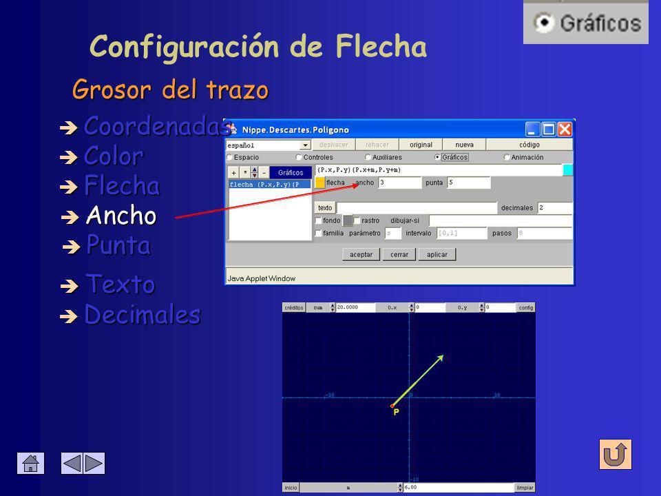 Configuración de Flecha Color del interior è Coordenadas è Color è Flecha è Ancho è Decimales è Texto è Punta