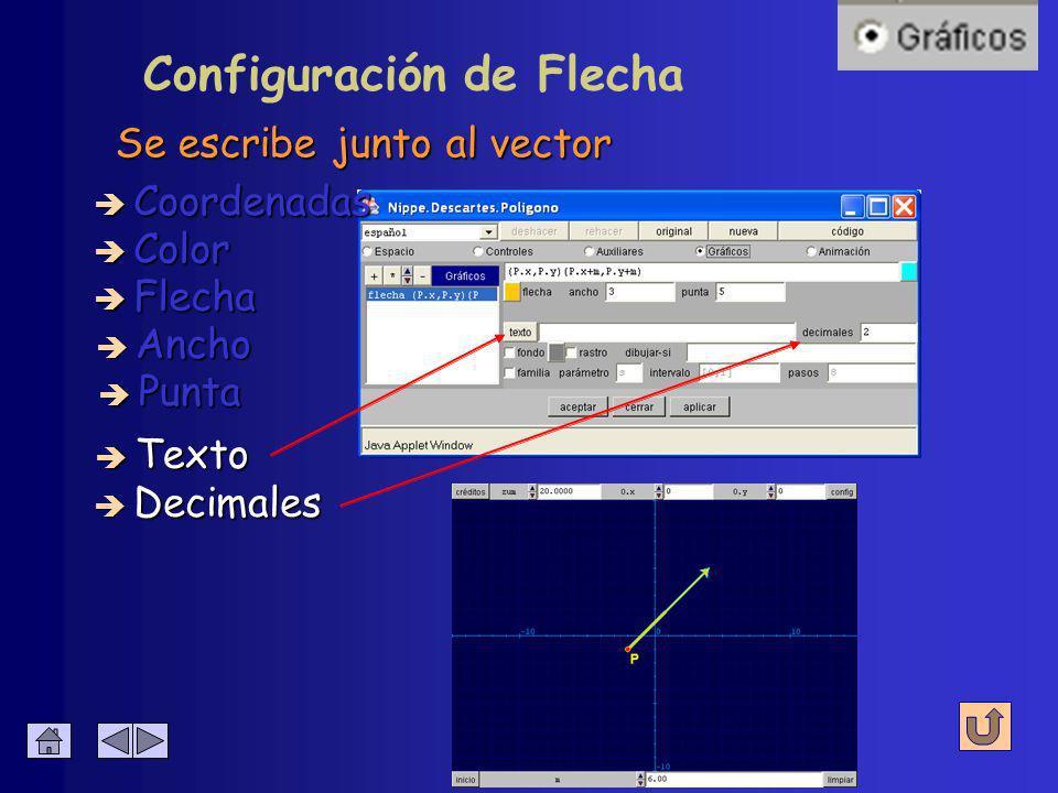 Configuración de Flecha Tamaño de la punta de flecha è Coordenadas è Color è Flecha è Ancho è Decimales è Texto è Punta