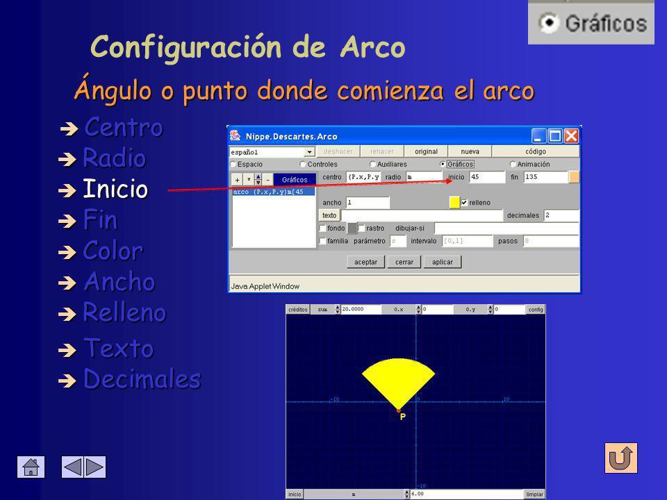 Configuración de Arco Radio de la circunferencia è Centro è Radio è Inicio è Fin è Decimales è Texto è Color è Ancho è Relleno