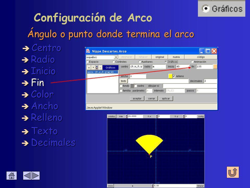 Configuración de Arco Ángulo o punto donde comienza el arco è Centro è Radio è Inicio è Fin è Decimales è Texto è Color è Ancho è Relleno
