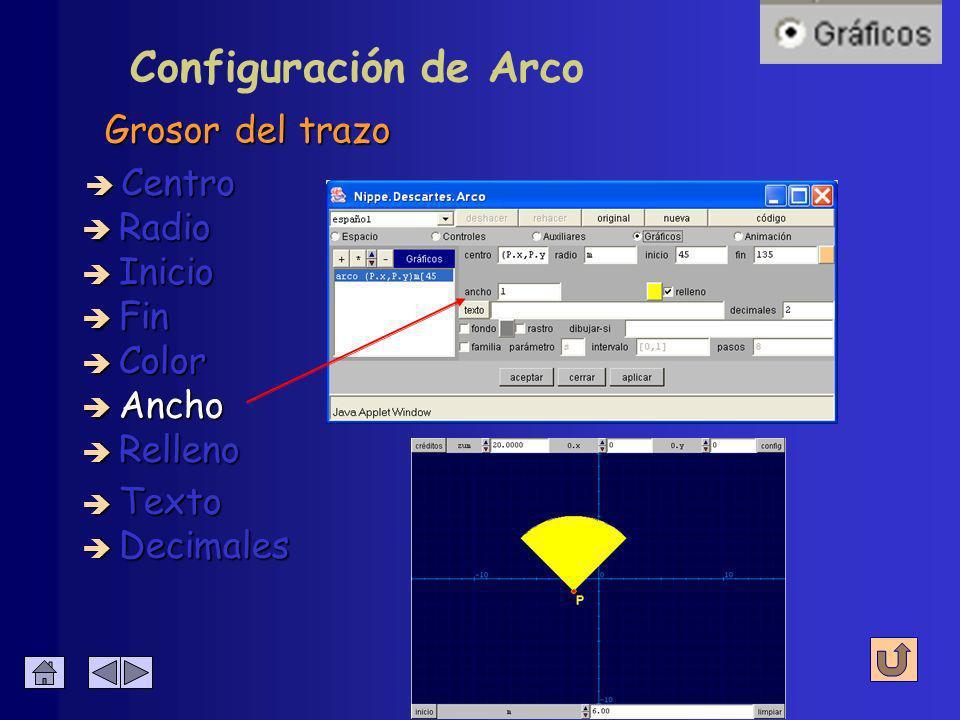 Configuración de Arco Color del trazo è Centro è Radio è Inicio è Fin è Decimales è Texto è Color è Ancho è Relleno