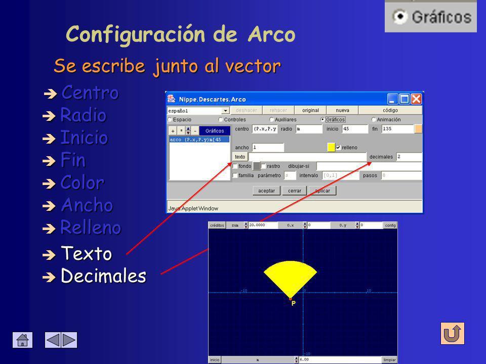 Configuración de Arco Color del sector circular è Centro è Radio è Inicio è Fin è Decimales è Texto è Color è Ancho è Relleno