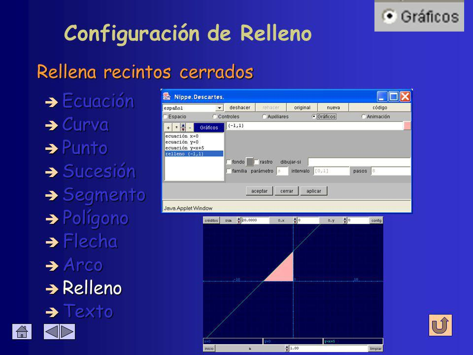 Configuración de Arco Se escribe junto al vector è Centro è Radio è Inicio è Fin è Decimales è Texto è Color è Ancho è Relleno