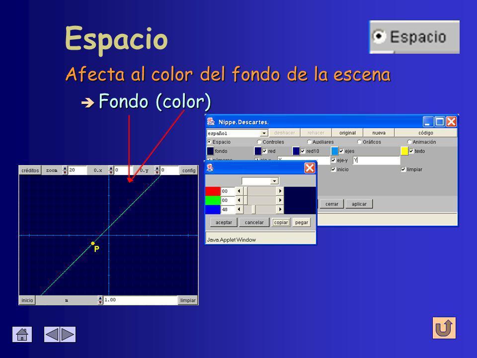 Se puede configurar con un editor de colores Espacio è Fondo (color)