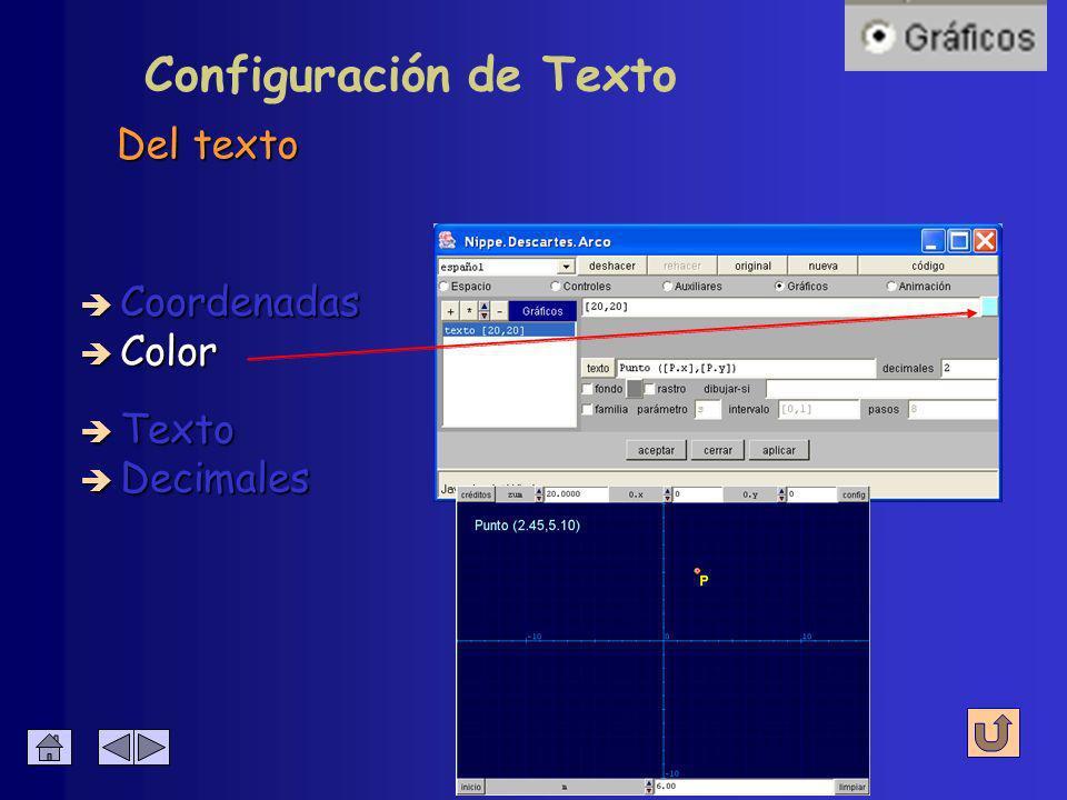 Configuración de Texto Las coordenadas absolutas de la escena en píxeles, donde comenzará a escribirse el texto è Coordenadas è Color è Decimales è Texto