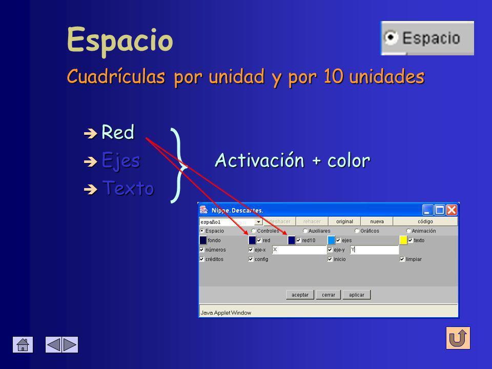 Espacio è Fondo (color) Afecta al color del fondo de la escena
