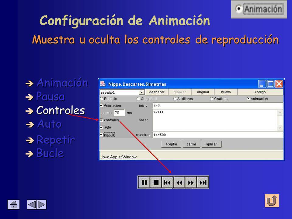 Configuración de Animación Indica la duración en milisegundos entre dos imágenes de la animación è Animación è Pausa è Controles è Auto è Bucle è Repetir