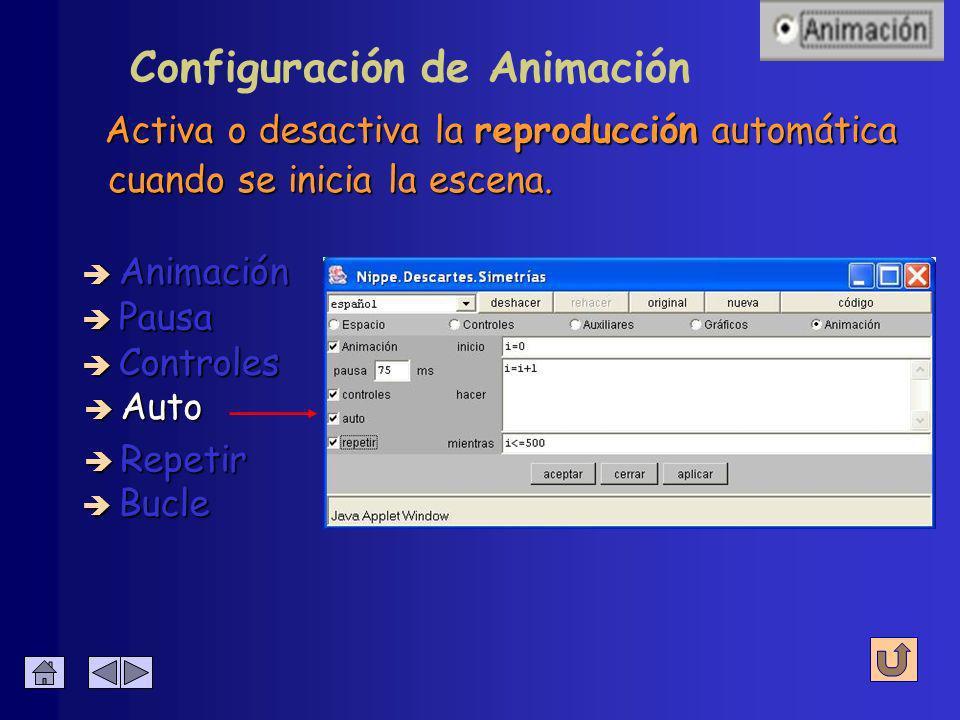 Configuración de Animación Muestra u oculta los controles de reproducción è Animación è Pausa è Controles è Auto è Bucle è Repetir