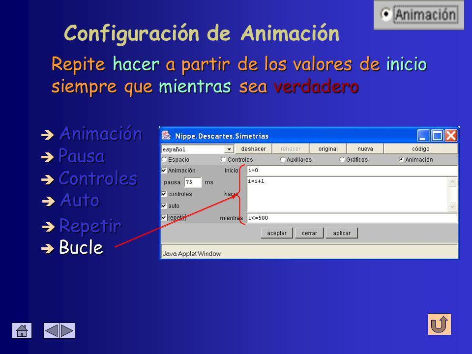 Configuración de Animación Activa o desactiva la repetición automática è Animación è Pausa è Controles è Auto è Bucle è Repetir cuando finaliza su ejecución.