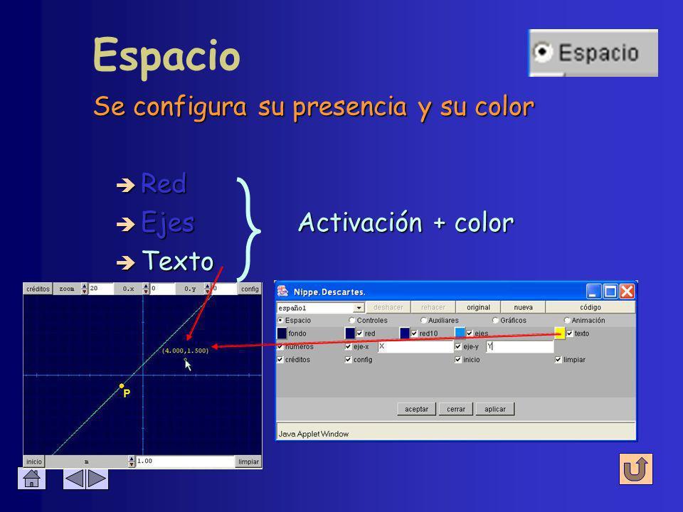 Escribe las coordenadas del puntero del ratón al pulsarlo sobre la escena Espacio è Red è Ejes è Texto Activación + color Activación + color