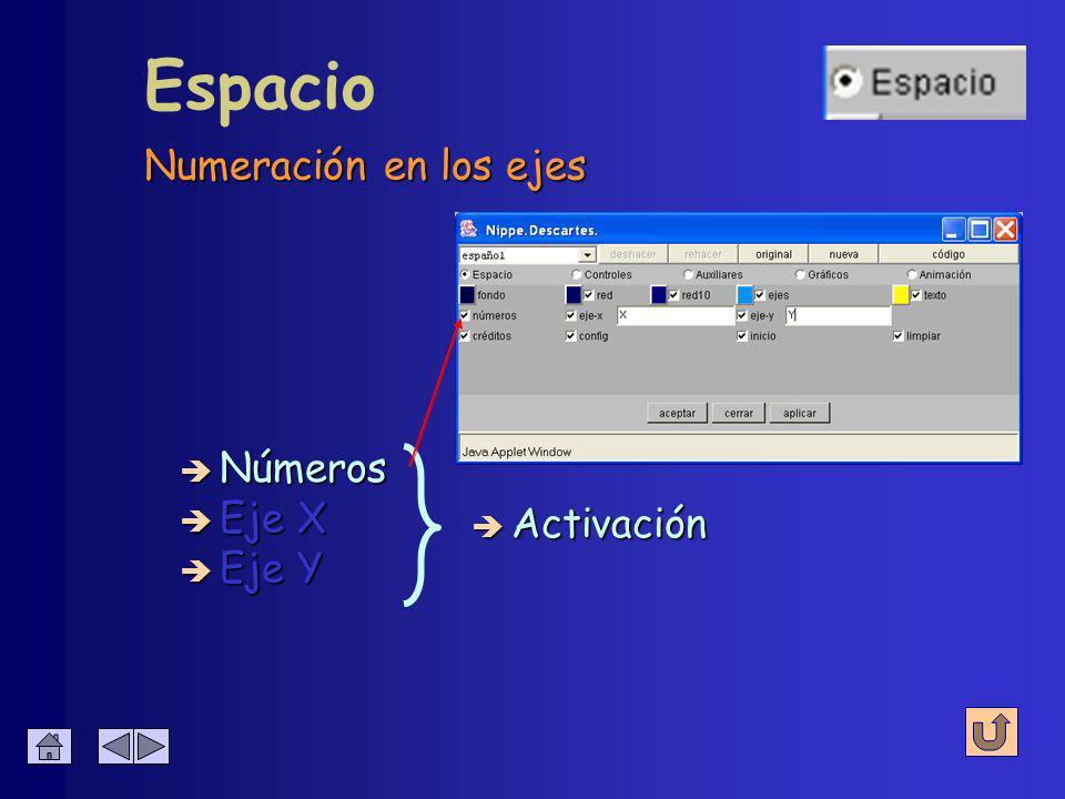 Se configura su presencia y su color Espacio è Red è Ejes è Texto Activación + color Activación + color