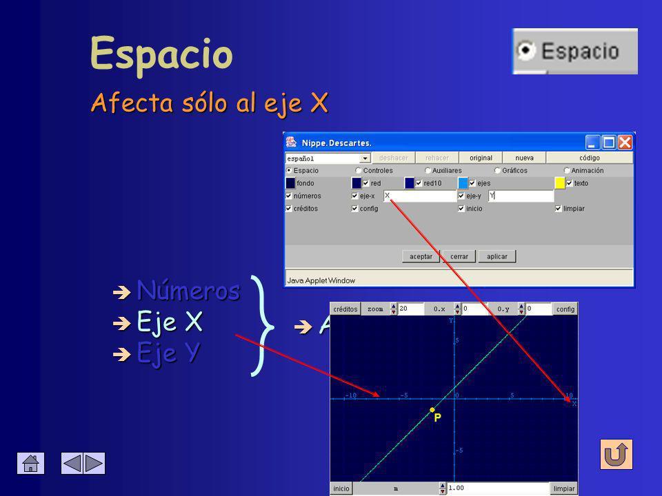 Se configura su presencia y su nombre Espacio è Activación + nombre è Eje X è Eje Y è Números