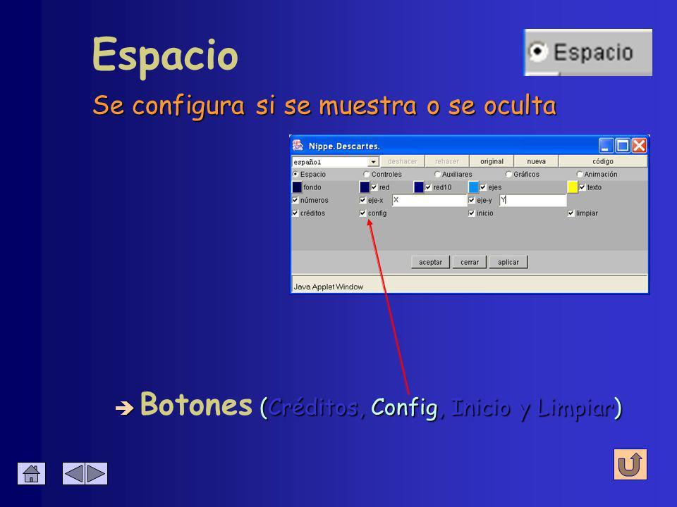 Títulos de crédito de Descartes Espacio è (Créditos, Config, Inicio y Limpiar) è Botones (Créditos, Config, Inicio y Limpiar)