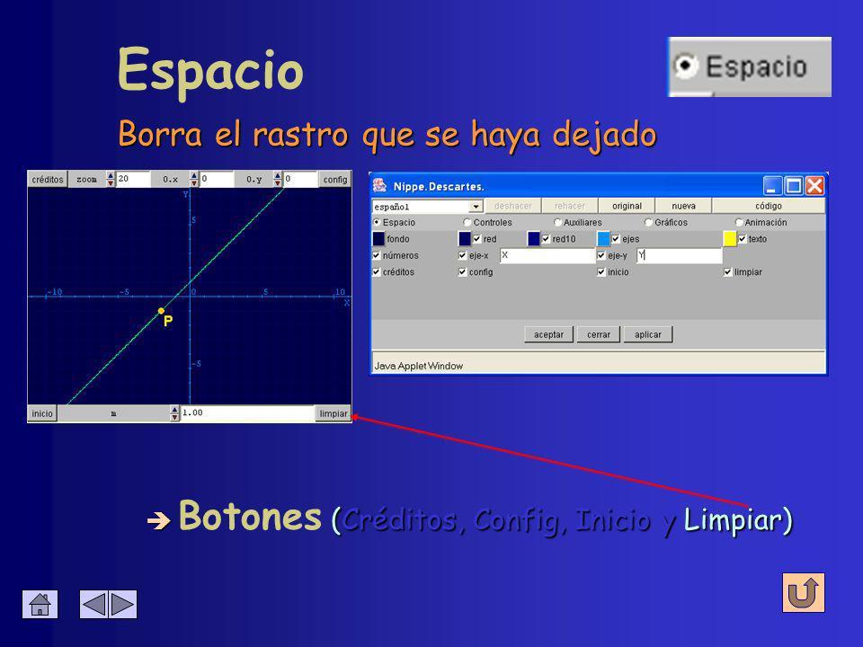 Espacio è (Créditos, Config, Inicio y Limpiar) è Botones (Créditos, Config, Inicio y Limpiar) Se configura si se muestra o se oculta