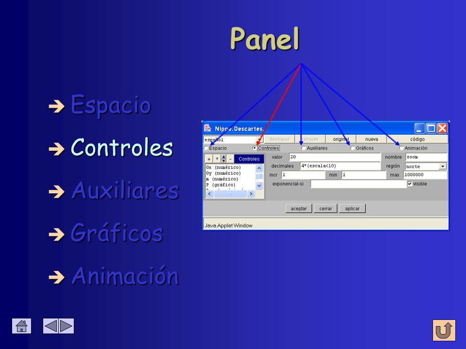 Resumen de parámetros Panel Espacio Fondo (color) Red Ejes Texto è (Créditos, Config, Inicio y Limpiar) è Botones (Créditos, Config, Inicio y Limpiar)